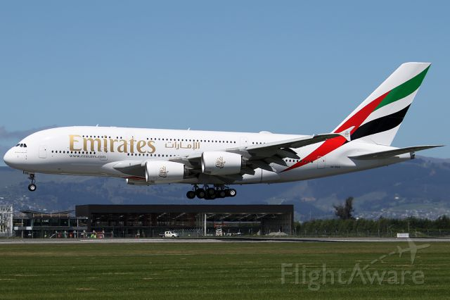 """Airbus A380-800 (A6-EUG) - 31 OCT 2016.<br />First scheduled A380 service to CHC.  Used to be EK418 , a B77W from DXB-BKK and SYD, now DXB-SYD-CHC.<br /><br />Christchurch Airport made a big day of it, opening an area near the runway for parking and viewing.<br />They invited all photographers to come out as well as the general public.<br /><br />What they didnt say however, was that you werent allowed a ladder near the fence, so it had to be viewed through the wires !<br /><br />""""Airport Safety"""" was the reason given by some import security guard wog.  So, down the road I went , up against the fence and had no problems !<br />Christchurch is turning out to be a very user unfriendly airport !"""