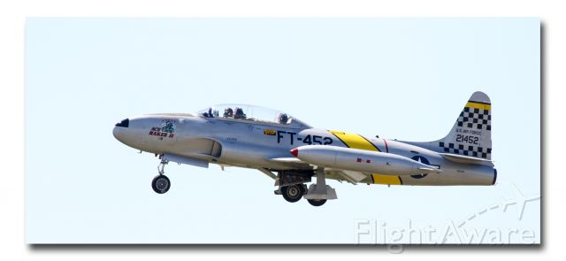 """Lockheed T-33 Shooting Star (N21452) - """"The Lockheed T-33 Shooting Star (or T-Bird) is a subsonic American jet trainer. It was produced by Lockheed and made its first flight in 1948. The T-33 was developed from the Lockheed P-80/F-80 starting as TP-80C/TF-80C in development, then designated T-33A. It was used by the U.S. Navy initially as TO-2, then TV-2, and after 1962, T-33B. The last operator of the T-33, the Bolivian Air Force, retired the type in July 2017, after 44 years of service"""""""