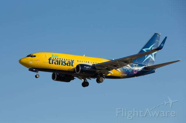 Boeing 737-700 (C-GTQP) - Air Transat Boeing 737 with yellow special livery
