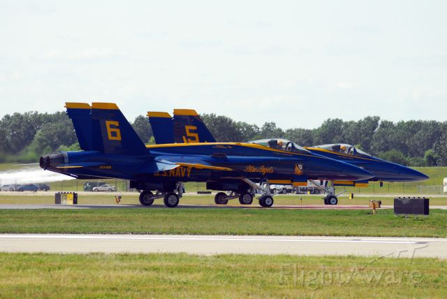 McDonnell Douglas FA-18 Hornet — - Blue Angels 5 and 6 taxiing to Runway 19.