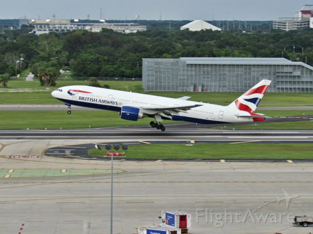 Boeing 777-200 (BAW2166) - A big British Airways 777 takes off on the short runway at Tampa as the long runway is closed for maintenance.