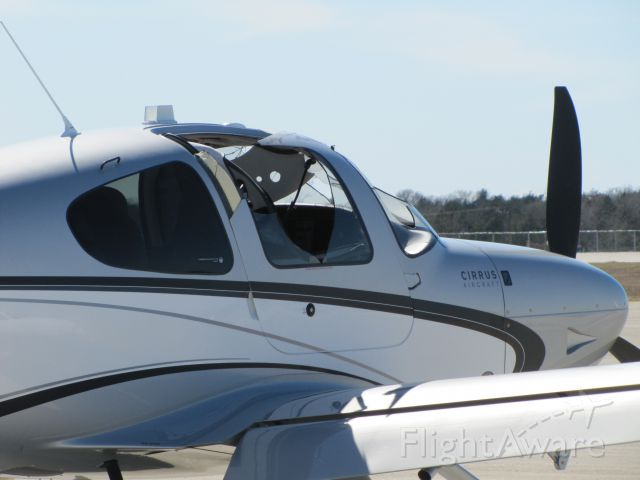 Cirrus SR-22 (N247RB) - SR22 after midair collision with Cessna 152. Made emergency landing at Easterwood Airport. Pilot walked away. As did the student and instructor in the 152. SR22 windshield struck the right main landing gear of the C152.