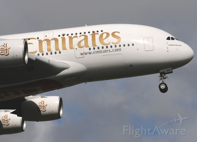 Airbus A380-800 (A6-EDD) - Coming to an airport near you soon.    Emirates A380.800 on final approach to RW 09L at LHR.
