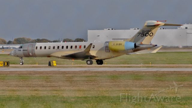 Bombardier Global Express (C-GLBG) - I was waiting for a 737-800 at a park I haven't been to before and according to Flightradar24 but it was a brand new test bird for the bombardier Global 7500.