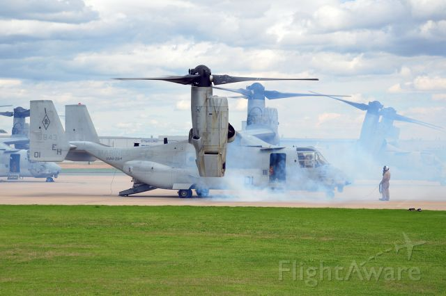 Bell V-22 Osprey (16-5843) - Smokey startup for VMM-264, Black Knights, who would eventually have to leave one bird behind due to maintenance issues.
