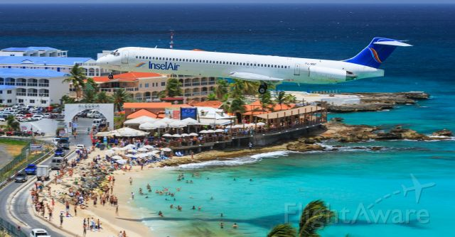 McDonnell Douglas MD-83 (PJ-MDF) - TBT throw back Thursdays gone and will never be forgotten Insel Air MD82 PJ- MDF in her better days entertaining the crowds at Maho beach.<br /><br />03/07/2016