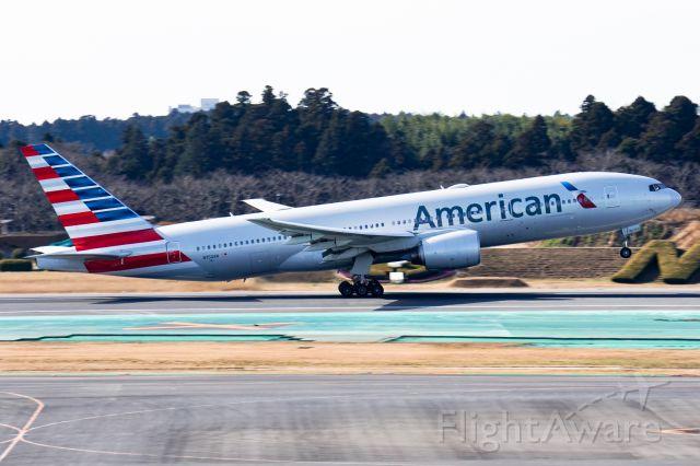 Boeing 777-200 (N750AN) - American 777-200ER rotates at Narita Int'l