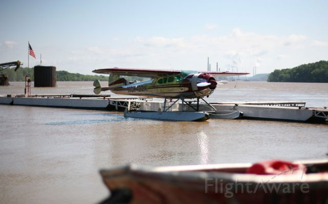 Cessna LC-126 (NC7422X) - Beautifully polished Cessna 195 floatplane seen docked on the Ohio River.