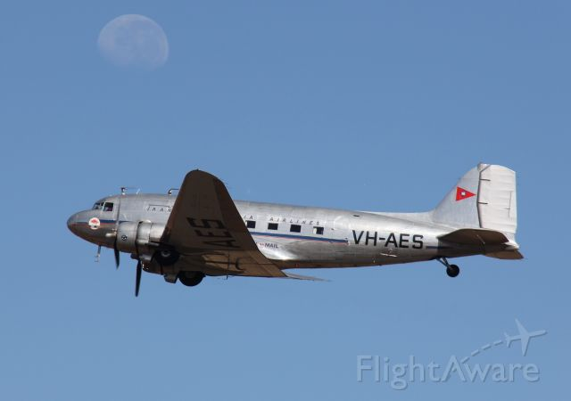 VH-AES — - Douglas C-47DL (DC-3)<br />Manufactured in 1941, USA<br />Australian International Airshow 2013<br />Melbourne, Vic, Australia<br />Photo: 02.03.2013<br />For more info. see: http://www.airwaysmuseum.com/DC3%20VH-AES.htm