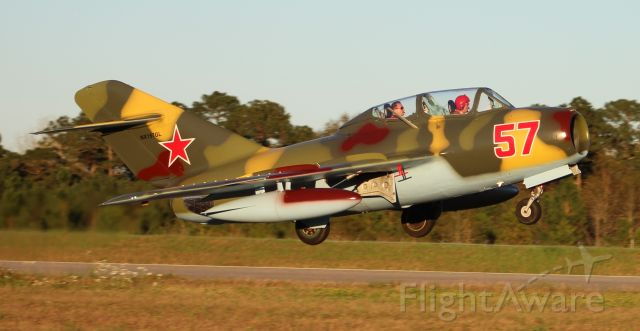 PZL-MIELEC SBLiM-2 (NX157GL) - A Mikoyan-Gurevich (PZL-Mielec) MIG-15UTI (SBLiM-2) departing Runway 19 at H.L. Sonny Callahan Airport, Fairhope, AL, during the Classic Jet Aircraft Association 2019 Presidential Fly-In and Convention - February 27, 2019.