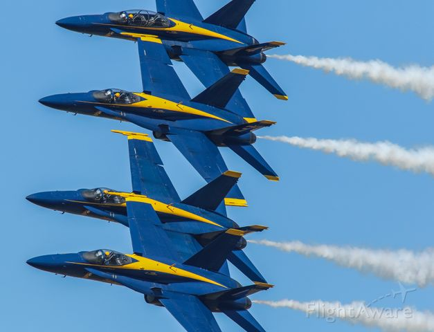 McDonnell Douglas FA-18 Hornet — - Blue Angels stacked during a banked turn.