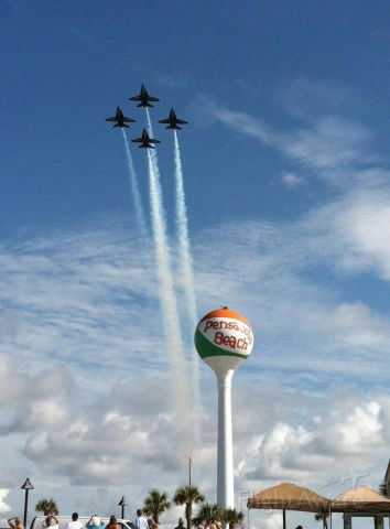 USNAVY — - The Blue Angels flying over Pensacola Beach, Florida.