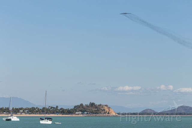 — — - The great thing about 50's Engine Turbine Technology, is it makes it much easier to spot aircraft from afar. This aircraft first appeared as a black smudge on the horizon. She flew past over The Strand at 3000ft as part of the Pacific War Commemorations.