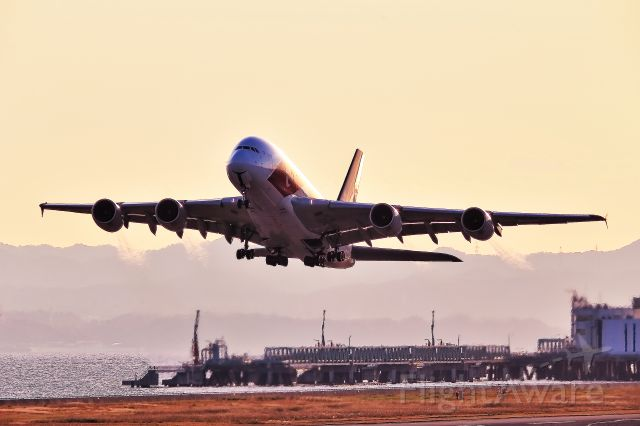 Airbus A380-800 (9V-SKJ) - Take-off shot by Special marking A388 of Singapore airline.