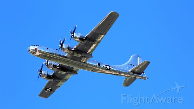 """Boeing B-29 Superfortress (N69972) - B-29 Doc flies over EAA Oshkosh Show Center after """"Missing Man Formation"""""""