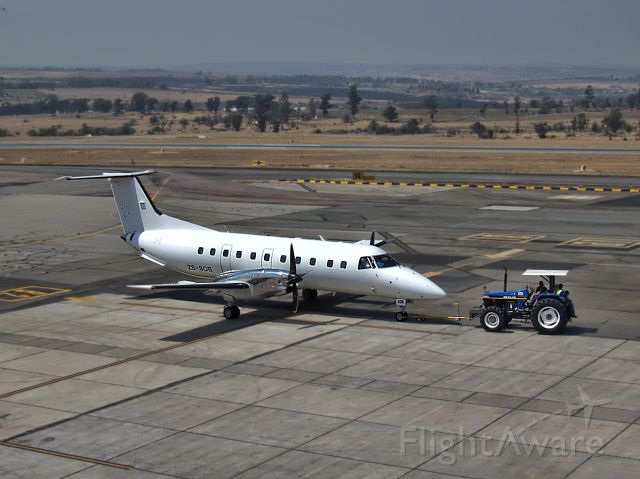 ZS-SOB — - An Embraer S.A EMB-120ER registered to Sahara African Living, is pushed back for take-off at Lanseria Airport.