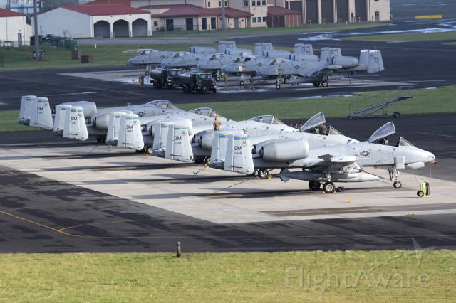 Fairchild-Republic Thunderbolt 2 — - Two neat line-ups of Warthogs on a fuel stop at Lajes, Azores.