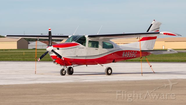 Cessna Centurion (N4959C) - A Cessna Turbo Centurion tied for the night on the ramp at KPPO.