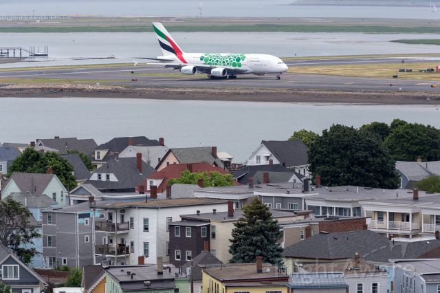 Airbus A380-800 (A6-EOL) - There is something special in town. Second scheduled, first special livery Emirates A380 in Boston.