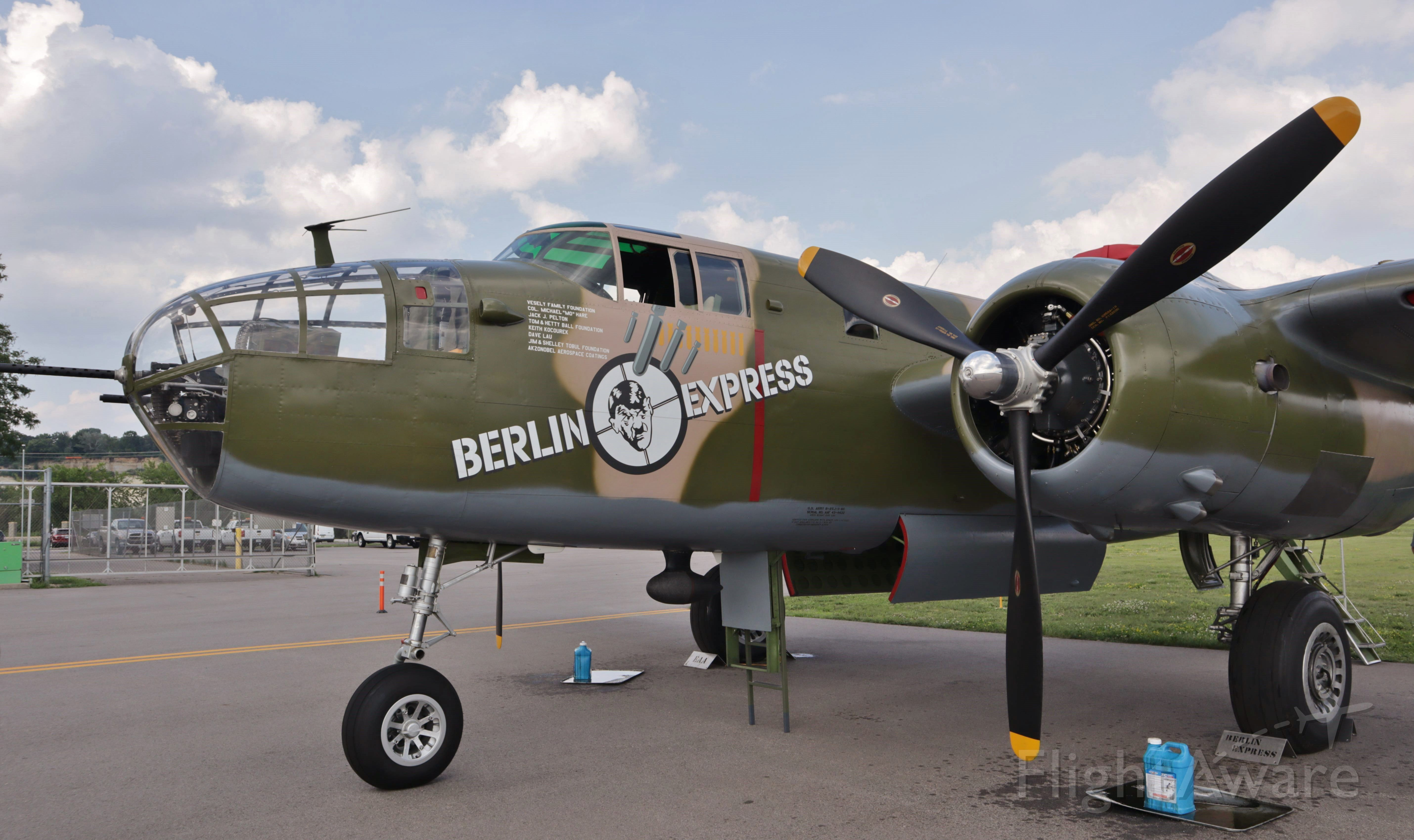 """North American TB-25 Mitchell (N10V) - The EAA's B-17 """"Aluminum Overcast"""" and B-25 """"Berlin Express"""" were in St Paul on their summer tour."""