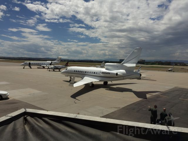 Dassault Falcon 900 (N504PA) - I was eating at the Perfect Landing restaurant and I saw this Falcon 900 leaving Centennial Airport.