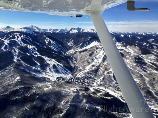 Cessna Skyhawk (N66029) - Left wing view of Beaver Creek Ski Resort, Colorado.  13 miles out, over I-70, inbound for runway 25, Eagle County Regional (EGE) Thanksgiving, 2014