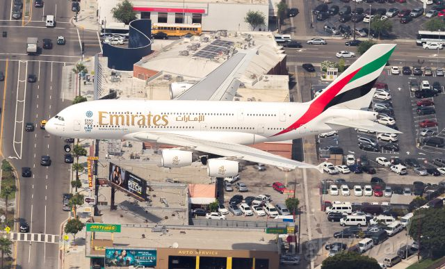 Airbus A380-800 (A6-EOE) - Emirates super on short finals for runway 24R at LAX