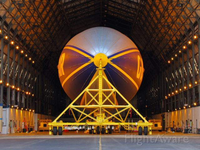 """Unknown/Generic Airship (N3A) - N3A the """"Spirit of Goodyear"""" is seen inside of the hangar at Goodyears Wingfoot Lake Airship Base after completing a day of passenger rides back in 2011."""