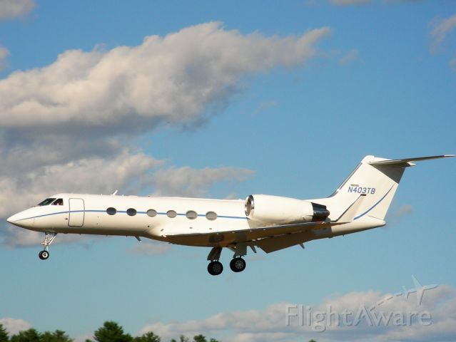 Gulfstream Aerospace Gulfstream IV (N403TB) - A frequent sight at Nashua, 403TB coming back from some exotic destination.