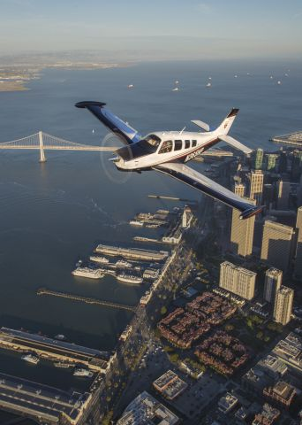Beechcraft Bonanza (36) (N365HP) - Evening photoshoot over San Francisco