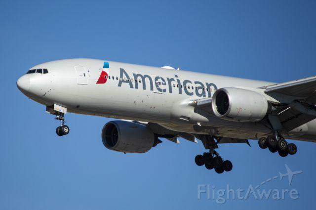 Boeing 777-200 (N758AN) - American 777-200 landing runway 28C from Miami 11/28/20