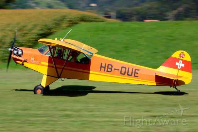 HB-OUE — - 1944 built former 44-80019 (USAF) with 1/80sec exposure at Piper Cub FlyIn 2014.