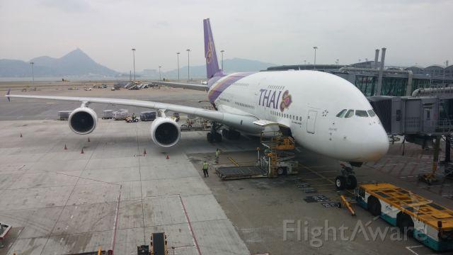 Airbus A380-800 (HS-TUB) - @ HKG on 21-Nov-2015. HKG-BKK @ 12:28 Hrs. Shajan at Gate 60.
