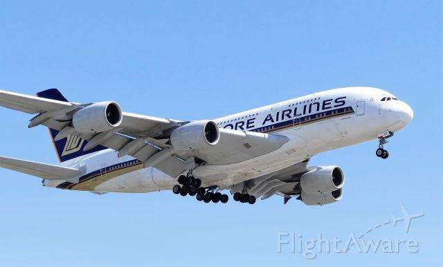 Airbus A380-800 (9V-SKP) - Landing on runway 27R on Jul 4, 2019.