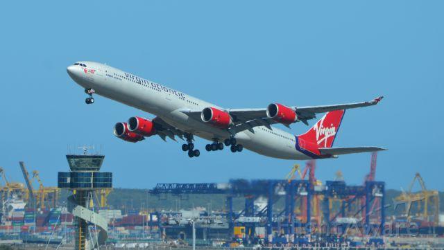 Airbus A340-600 (G-VYOU) - Emmeline Heaney departs Sydney