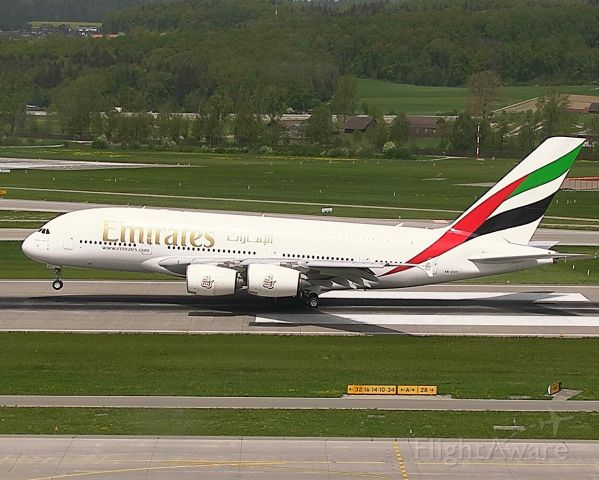 Airbus A380-800 (A6-EOT) - Emirates A388 landing at Zurich Airport.