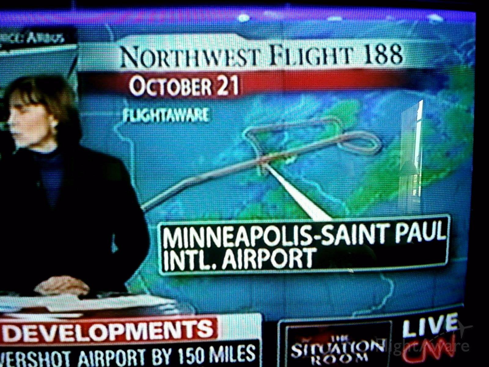 Boeing 757-200 (NWA188) - Screen capture of FlightAware map on CNN.
