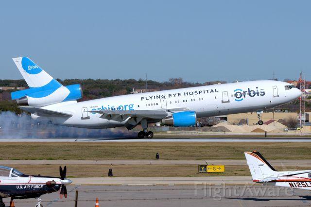 McDonnell Douglas DC-10 (N220AU) - 12R arrival.