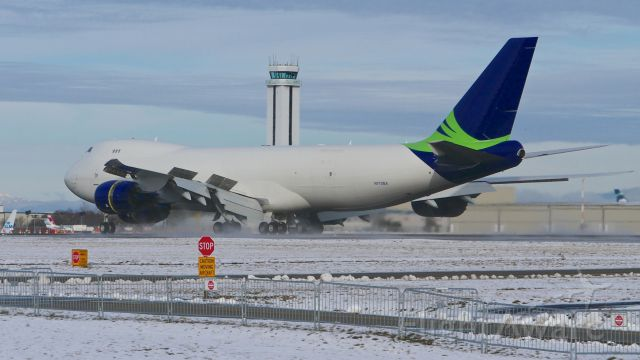 """BOEING 747-8 (N770BA) - BOE573 lands on Rwy 34L to complete a ferry flight from KMJZ on 2.7.17. (ln 1437 / cn 37564). This was the first B748F that Boeing had in a """"Seahawks"""" c/s."""