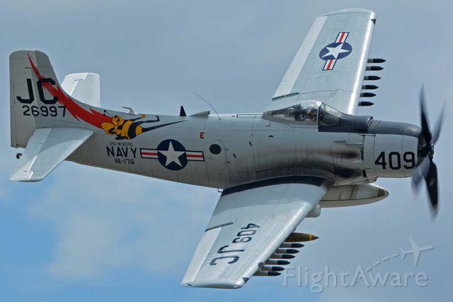 Douglas AD Skyraider (N409Z) - Douglas A-1D (AD-4NA) Skyraider NX409Z at Chino, California on April 30, 2016.