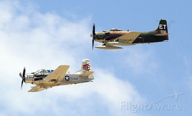 Douglas AD Skyraider (N39606) - A1D and A1E Sandys providing air cover for the downed F-105 pilot