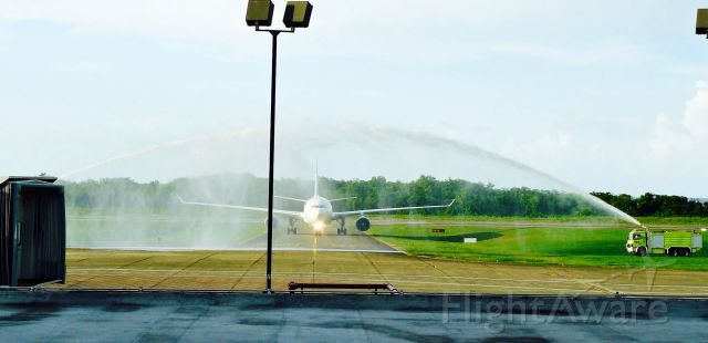 Airbus A330-200 (D-AXGA) - EUROWINGS AG A332 ARRIVING AT MDPP FOR FIRTS TIME ON THIS AIRPORT AT MDPP! RECIVING WHIT WATER SALUTE!