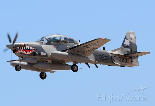 Embraer AT-29 (PT-ZZQ) - Landing in Gran Canaria on a delivery flight the first six Embraer A-29B Super Tucano for the Philippines Air Force.
