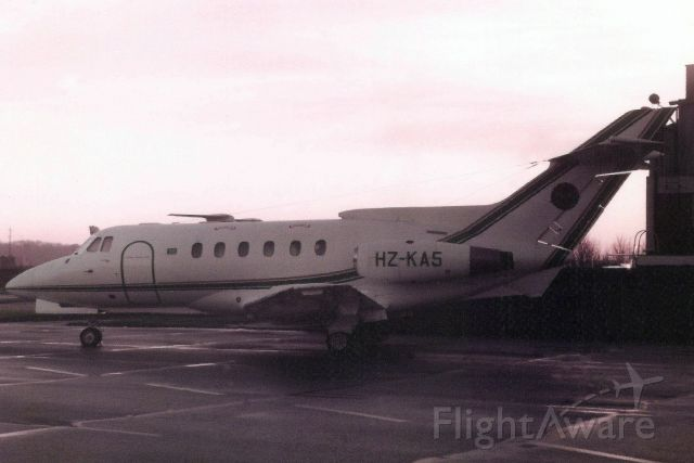 Hawker Siddeley HS-125-400 (HZ-KA5) - Seen here in Dec-84.br /br /Reregistered P4-VJR in May-00,br /then 5V-TTP in Mar-06,br /then 9Q- CJM.br /Withdrawn from use at DXXX.