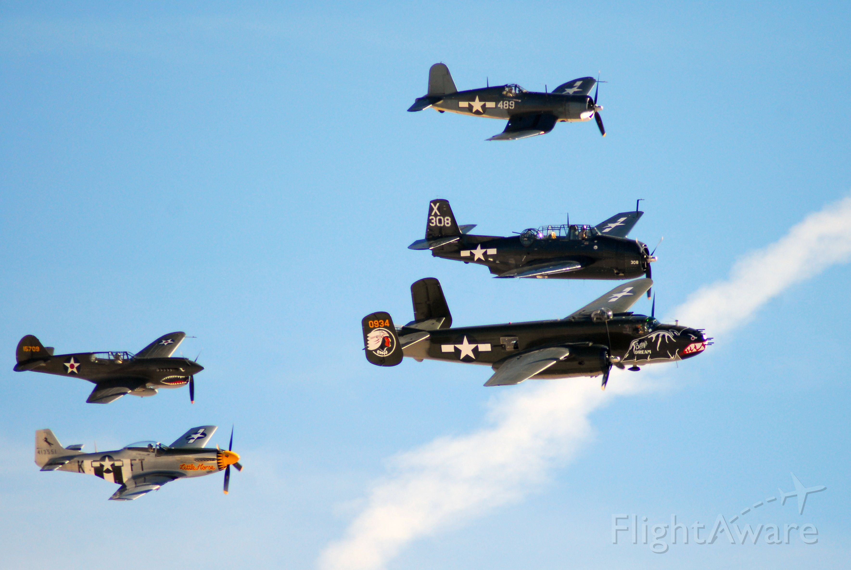 — — - Aviation Nation 2017 - Texas Flying Legends<br />From bottom to top:<br /><br />P-51 Mustang<br />P-40 Warhawk<br />B-25 Mitchell<br />TBM-3E Avenger<br />F4U (FG-1D) Corsair