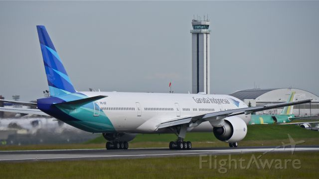 BOEING 777-300 (PK-GIF) - GIA8011 during its takeoff roll on Rwy 16R for its delivery flight to WIII / CGK on 5/21/14. (LN:1203 / cn 29148).