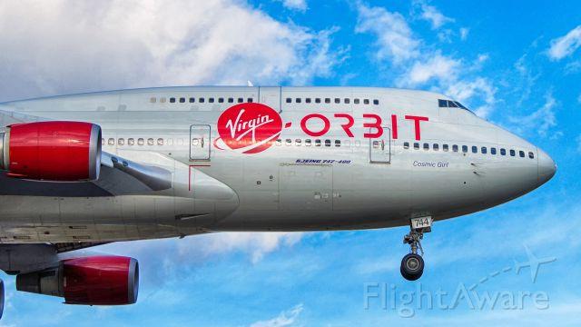 Boeing 747-400 (N744VG) - 13R approach, Cosmic Girl in for maintenance.