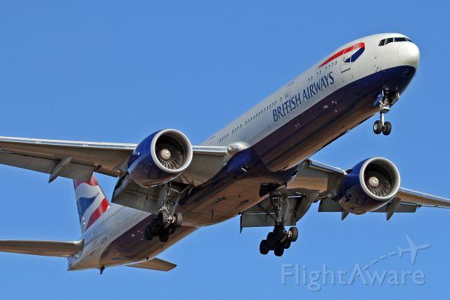 Boeing 777 (G-STBA) - Speedbird 213 on short final to 22L