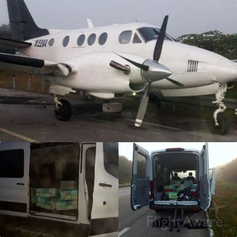 Beechcraft King Air 100 (N2204) - 20-01 27 plane landed on Chetumal-Merida highway enroute from Venezuela loaded with cocaine...