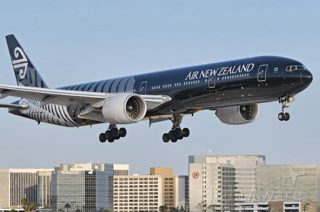"""BOEING 777-300ER (ZK-OKQ) - An Air New Zealand operated Boeing 777-300 series widebody twin-jet in special """"All Blacks"""" livery, moments from touch down at the Los Angeles International Airport, LAX, in Westchester, Los Angeles, California"""
